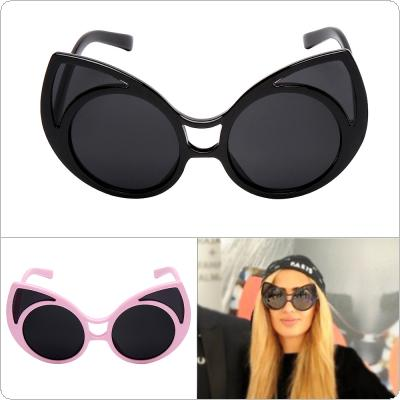 Retro Fashion Cat-ear Shades Sunglasses with Large Frame and UV400 Safeguard for Shopping Travel Taking Photo