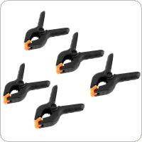 5pcs 4 Inch Multifunction Black Plastic Nylon Fixed Clip DIY Tools with A-type Spring Clamps and 50mm Maximum Opening for Woodworking