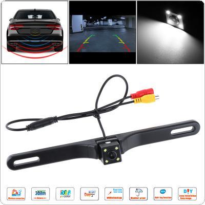 CMOS Waterproof Car Rear View Reverse Backup Square Camera Night Vision Parking Reversing Assistance with 4 LED