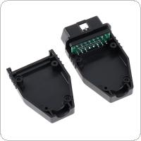 OBD-II 16Pin Male Extension Opening Cable Car Diagnostic Interface Connector PLug with SR Shell and PCB Green Board