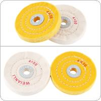 2pcs 4 Inch Cloth Buffing Polishing Wheel with 16mm Hole Diameter and Flannelette Material for Table Type Grinding Machine