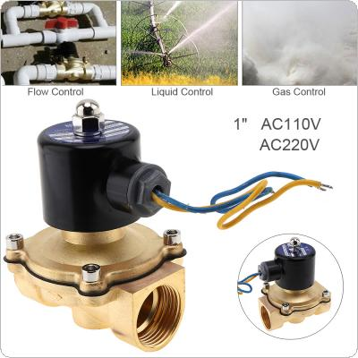 "1"" AC 110 / 220V Brass Electric Solenoid Valve Pneumatic Valve with Two-pass Type and 1"" Pipe Interface for Water / Oil / Gas"