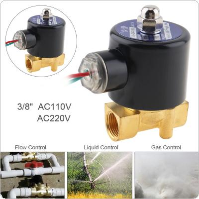 "3/8'' AC 110 / 220V Brass Electric Solenoid Valve with Two-way Two-position and 1"" Pipe Interface for Water / Oil / Gas"