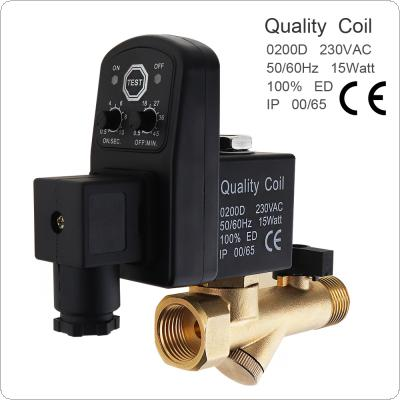 AC 220V Brass Electronic Drain Valve Siamese-type Valve with Timer OPT and Two-way Two-position for Air Compressor / Cooler
