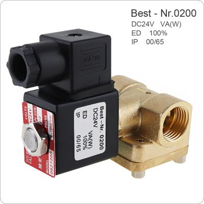 1/2'' DC 24V Brass Electric Solenoid Valve Normally Closed-type Valve with Pilot Diaphragm Type and Two Position Two Way for Air Cannon / Air Compressor
