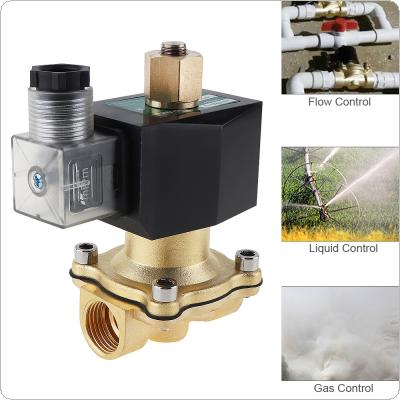 "DC 12V Brass Electric Solenoid Valve with Long Open Type and 1/2"" Interface  for Air Cannon / Air Compressor"