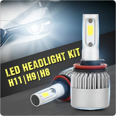 2pcs H8/H9/H11 72W 8000LM 6000K White Bulbs LED Headlight Kit All In One for Cars