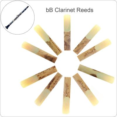 10pcs Professional Bamboo bB Clarinet Reeds Strength 2.5 for Clarinet Mouthpiece Parts Traditional Bamboo Reed
