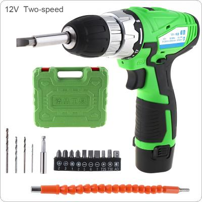 16pcs/set AC 110 - 220V Cordless 12V Rechargeable Lithium Electric Drill Tool with Batch Head and Flexible Shaft for Handling Screws / Punching