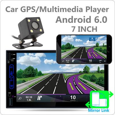 7 Inch QUAD Core Android 6.0 2Din Bluetooth Car Radio Stereo Player 1024x600 Digital Touch Screen GPS Navigation AM / FM / RDS Radio with Camera