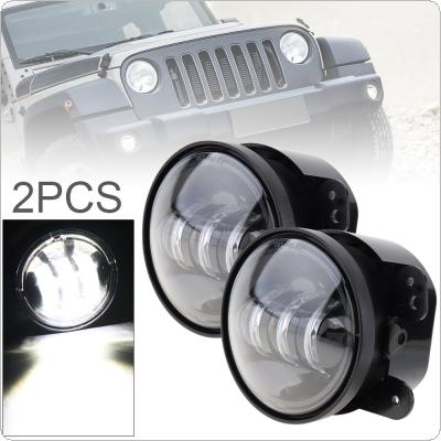 2pcs 4 Inch 30W 3000LM Cool White 6500K Round LED Fog Lights Modified Fog Lamp for Jeep