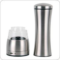 Adjustable Brushed Stainless Steel Grinder Mill with Multifunctional Handle Pepper Mill for Home