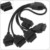 One Drag Four OBD-II 90 Degrees 16 Pin Male to 4 16 Pin Female Extended Connector Cable with 36CM Line for Car Diagnostic Tool