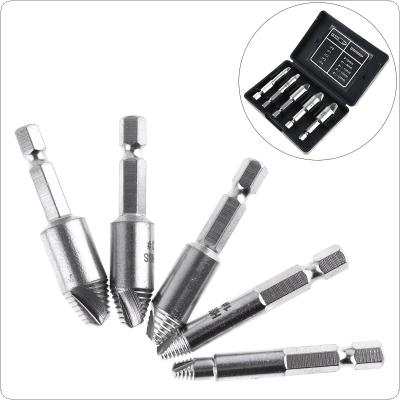 5pcs HSS Silver Strip Breakage Screw Extractor with Threaded Type Screw Tool for Home