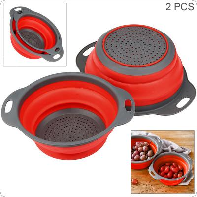 2pcs/set Telescopic Foldable Silicone Round Strainers Collapsible Colander Set Fruit Vegetable Basket  for Home Fruit Cleaning / Kitchen Storage