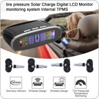 Solar Wireless Mini Portable Tire Pressure Detector Black Built-in Tire Pressure Monitor with TMPS Digital LCD Farbe Display and 4 Internen Sensoren