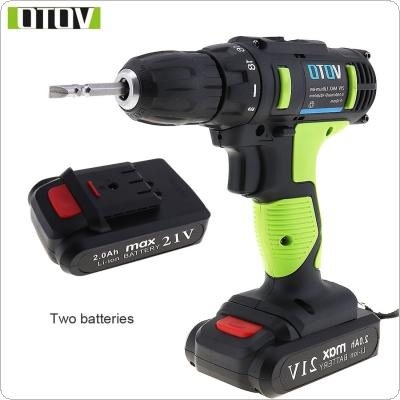 VOTO AC 100 - 240V Cordless 21V Electric Screwdriver with 2 Lithium Batteries and Two-speed Adjustment Button for Handling Screws / Punching