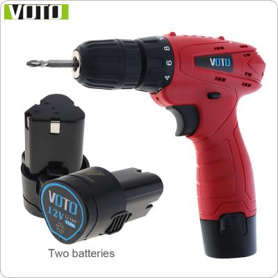 VOTO AC 100 - 240V Cordless 12V Electric Screwdriver with 2 Lithium Batteries and Rotation Adjustment Switch for Handling Screws / Punching