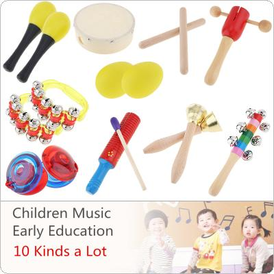10 Kinds Colorful Musical Instruments Set 6 Inch Drum PercussionToys Mixed for Children Baby Early Education