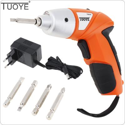 TUOYE 3.6V Rechargeable Battery Electric Screwdriver Kit with US / EU Power Adapter and 4 Bits Accessories for Home Installation