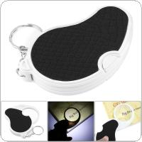 5X 43mm ABS + PU Handle Optical Lens Foldable Portable Magnifier with LED Light and Key Ring for Repairing and Inspection