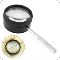 35X 50mm Black Zinc Alloy Optical Glass Loupe Magnifier Lens Detachable with Handle for Coins / Stamps / Jewelry