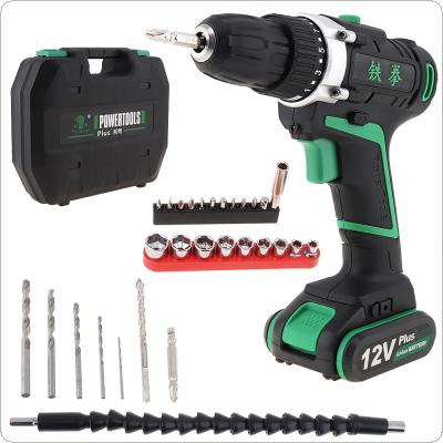 100 - 240V Cordless 12V Electric Drill / Screwdriver with Rotation Adjustment Switch and Plastic Box 29pcs Accessories Set for Handling Screws / Punching