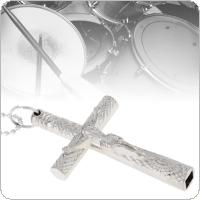 Silver Cross Drum Key Necklace Jazz Drum Wrench for Drum Head Tuning