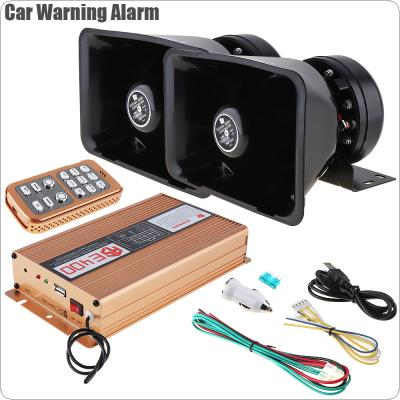 12V 400W 18 Tone Loud Car Warning Alarm Police Siren Horn Speaker with MIC System & Wireless Remote Control