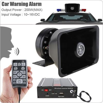 12V 200W 18 Tone Loud Car Warning Alarm Police Siren Horn Speaker with MIC System & Wireless Remote Control