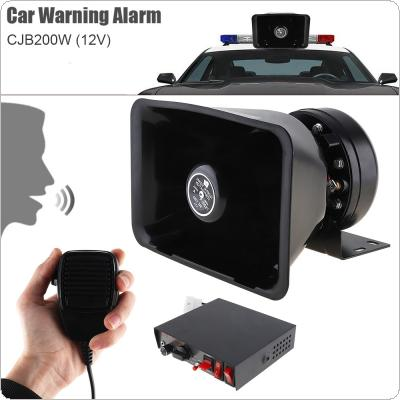 12V 200W 9 Tone Loud Car Warning Alarm Police Siren Horn Speaker with MIC System