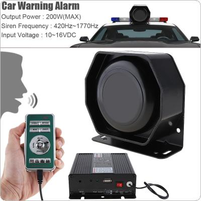 12V 200W 18 Tone Loud Car Warning Alarm Police Siren Horn PA Speaker with MIC System & Wireless Remote Control