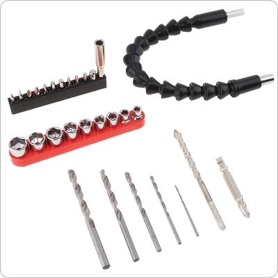29pcs Electric Drill Accessories Power Tool Snake Drill Sleeve Screwdriver Head and HSS Twist Drill Sets