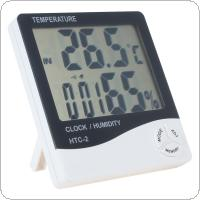 LCD Digital Dual Sensors Temperature Clock Humidity  Support Hourly / Everyday Alarm & Calendar Function