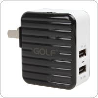Portable 2.4A / 1A Dual USB Port Universal Charger Fit for iPhone / iPad / Samsung / HTC
