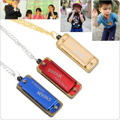 3pcs/lot Mini Harmonica 4 Holes 8 Tones Harmonica Metal Chain Necklace Style for Children / Kids Gifts