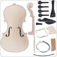 4/4 Size Violin DIY Kit Natural Solid Maple Full Set Violin Parts Handwork Support Painting Children's Toy Assembly for Amateur