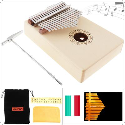 17 Key Kalimba Solid Spruce Wood Thumb Piano Mbira Natural Mini Keyboard Instrument with 7pcs Accessories