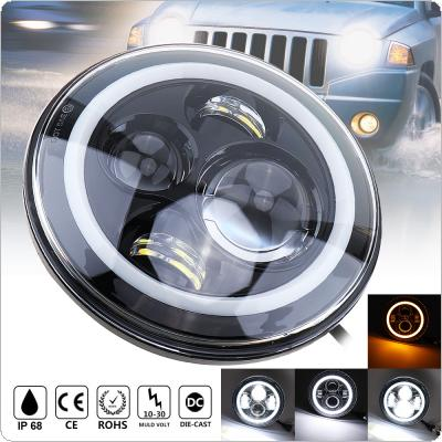 7 Inch 45w LED Headlights with Halo Ring Turn Signal White/amber Headlamp Fit for Jeep Wrangler JK LJ CJ Hummer H1 H2 Offroad Vehicles