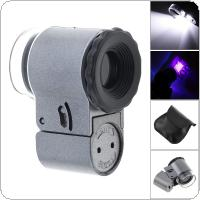 50X Metal + ABS Portable Adjustable Magnifier with 2 LED Light and UV Light for Jewelry / Diamond / Banknote Checking