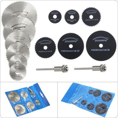 14pcs/set HSS Circular Saw Blade Cutting Discs Rotary Metal Cutter Power Tool Kit with Connecting Shank Drill Mandrel for Cutting