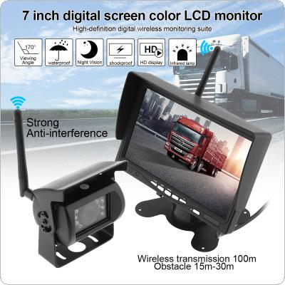 7 Inch Wireless Backup Camera Rear View Camera System HD TFT LCD Vehicle Rear View Monitor + Waterproof Night Vision Camera  for Truck RV Trailer Motorhome Bus
