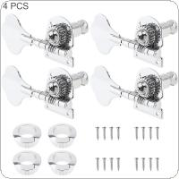 4pcs Silver Bass Tuning Pegs Tuner 4R Open Type Machine Head for Electric Jazz Bass