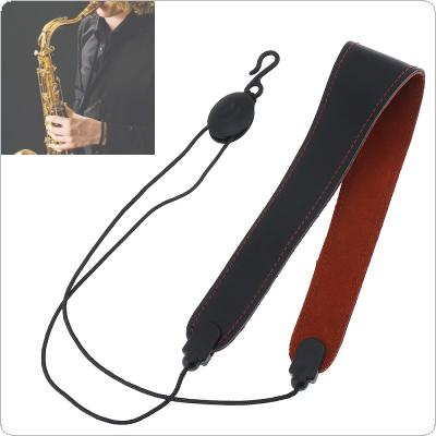 Adjustable Genuine Leather Saxophone Clarinet Neck Strap Single Shoulder Strap for Saxophone Clarinet