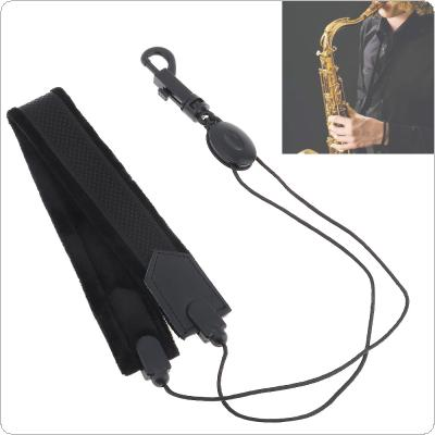 Adjustable Black Saxophone Neck Strap Soft Flannelette Single Shoulder Strap for Alto Tenor Soprano Saxophone