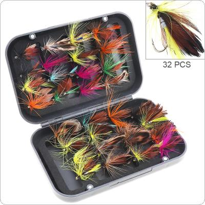 32pcs/lot Fly Fishing Lure Set Colorful Feather Simulation Fly Flies Butterfly Bait with Box