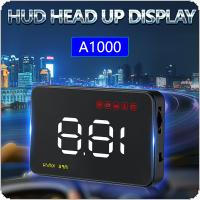 A1000 3.5 Inch Car HUD Head Up Display Speedometer OBD2 II EUOBD Auto Projector Parameter Display with 6 Safety Alarms System