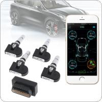 4pcs Smart Car TPMS Bluetooth 4.0 OBD Tyre Tire Pressure Monitoring System APP Display Bult-in Sensors Support Android IOS