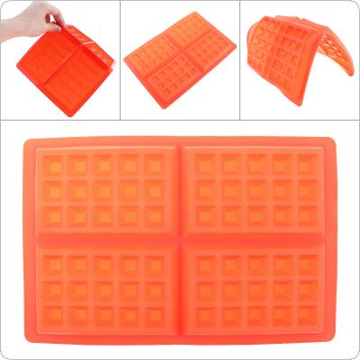 4 Even Square Red Waffle Mould Silicone Cake Dessert Mould Suitable for Baking DIY