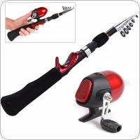 1.6m Mini Portable Rod Combo Telescopic Carbon Ice Rock Fishing Rod + Closed Spherical Fishing Reel